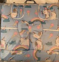 Набор детского постельного белья  в кроватку  Пони с мороженым голубой(для мальчика)