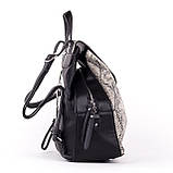 Женский стильный рюкзак  PRIMA K8791-2 BLACK GRAY 2019 /// SNAKE, фото 3