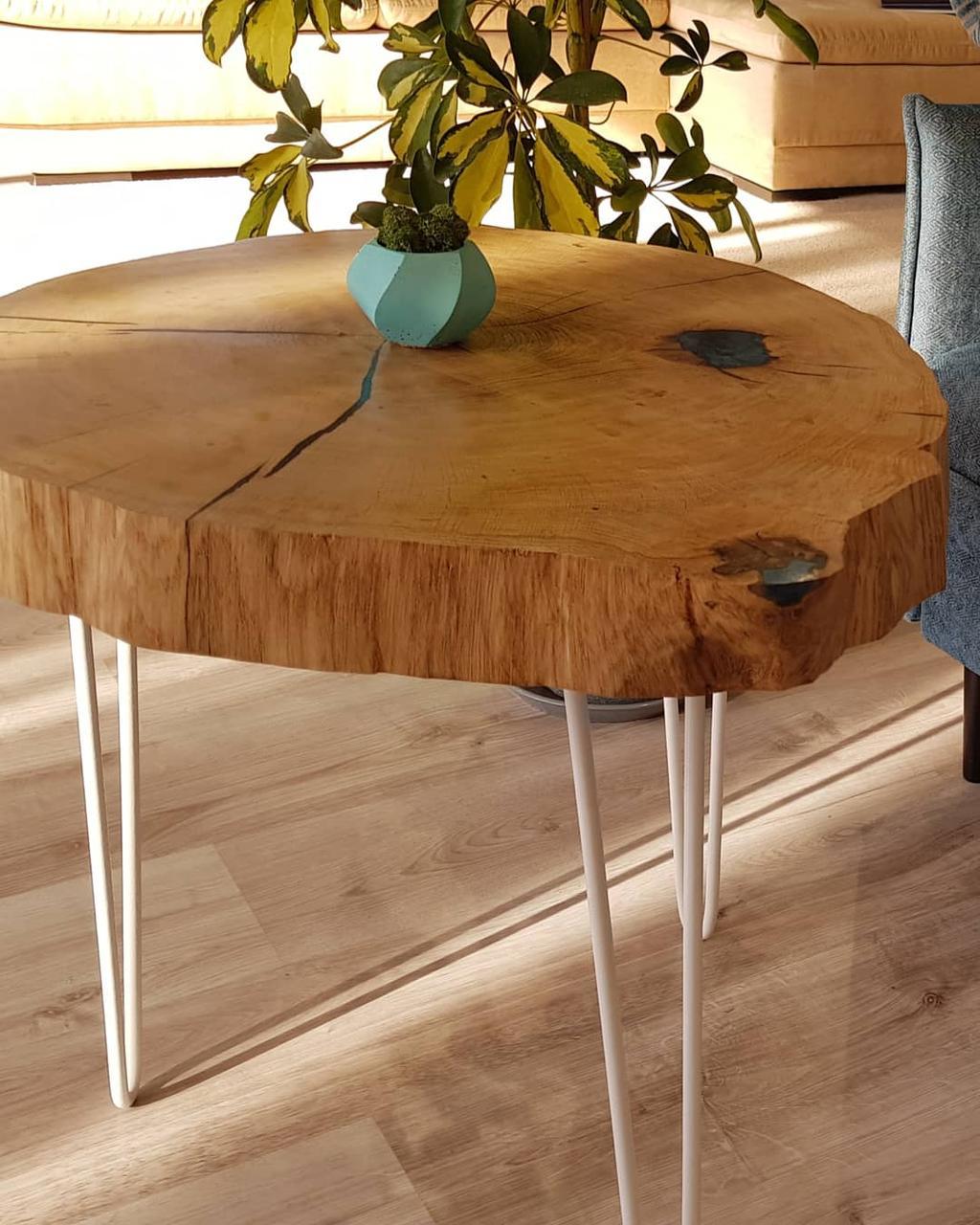 Журнальный столик, срез дуба 63 см
