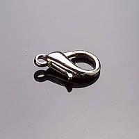 Фурнитура застежка карабин 1,4х0,8см серый металл