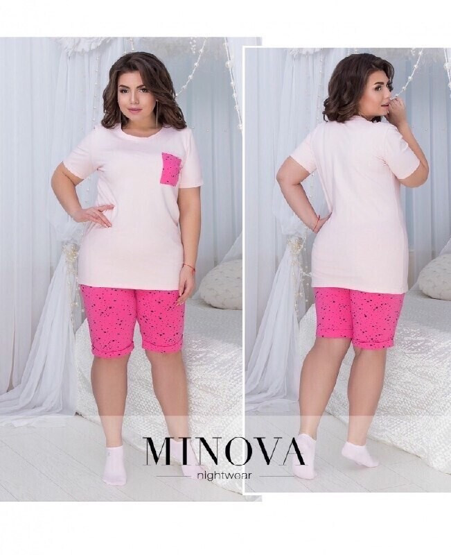 """Стильный женский костюм - двойка (футболка+шорты) ткань """"Трикотаж"""" 44, 46 размер норма"""