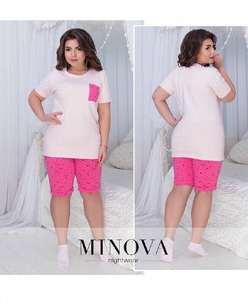 """Стильный женский костюм - двойка (футболка+шорты) ткань """"Трикотаж"""" 44, 46 размер норма, фото 2"""