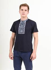 """Чоловіча,футболка ошатна """"Витязь"""",тканина лакоста, розміри 42,44,46,48,50,52(046) т. синій з сірим"""