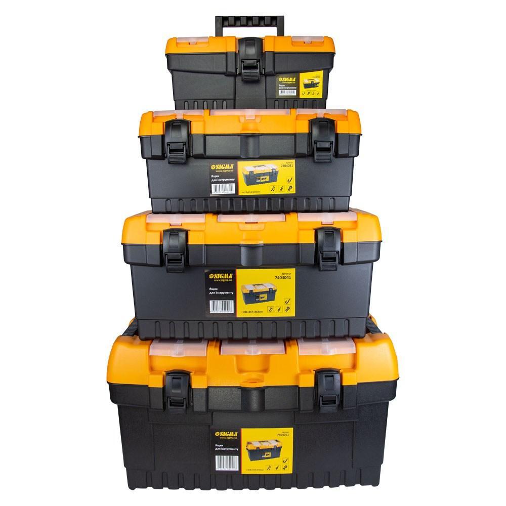 Набор ящиков для инструмента 4в1 320×155×139мм, 413×212×186мм, 486×267×242мм, 564×310×310мм SIGMA (7404011)