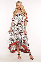 Очаровательное летнее платье из штапеля большого размера в принт, размер 52-58