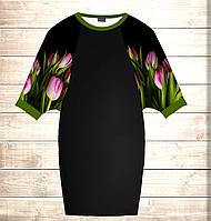 Умное платье с 3D принтом Тюльпаны