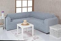 Чехол на угловой диван без оборки Venera 08-215 Серый