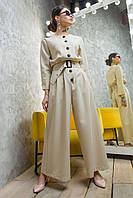 Комбинезон бежевого цвета льняной низ брюки, комбинезон нарядный молодежный, фото 1