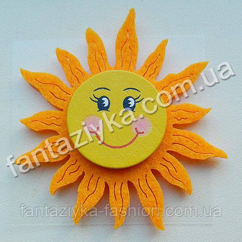 Солнце на липучке большое 6см, оранжевое