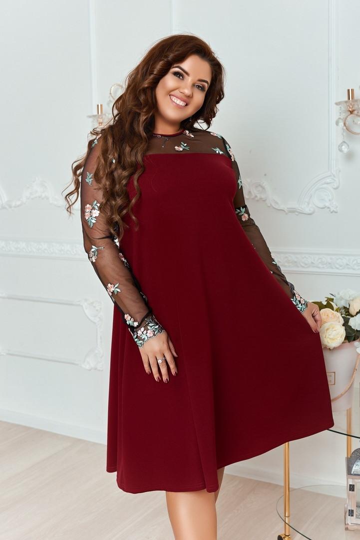 Женское платье свободного кроя рукава из сетки с вышивкой  48-50, 52-54, 56-58, 60-62