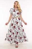 Шикарное платье большого размера с цветочками, размер 48-56