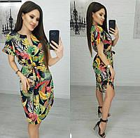 Платье с листьями женское полубатал (ПОШТУЧНО) L/46-48