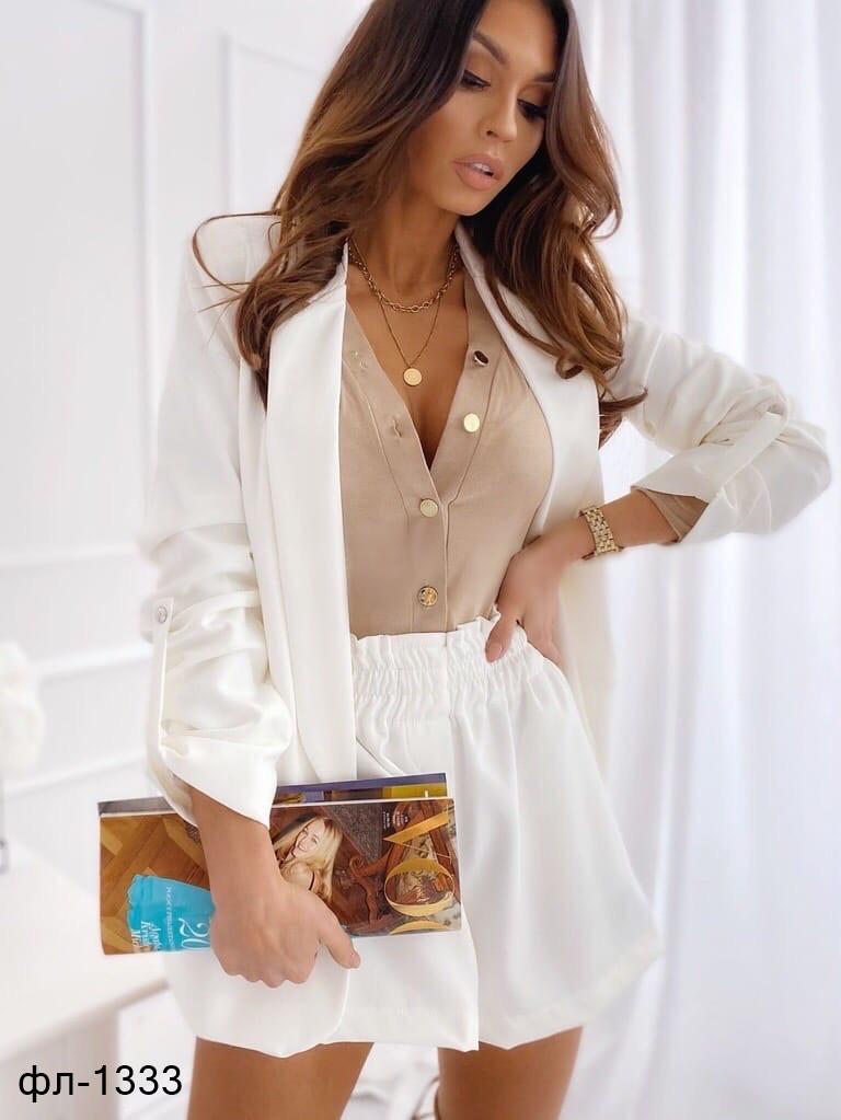 Женский стильный костюм с пиджаком и шортами 2 цвета