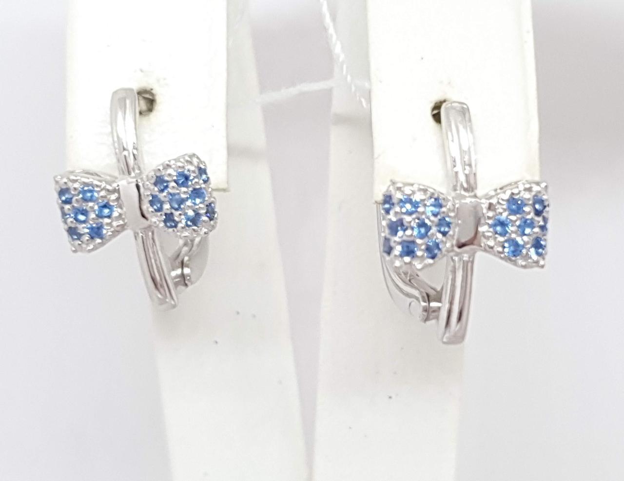 Срібні сережки Бантики з фіанітами. Артикул 20150Р