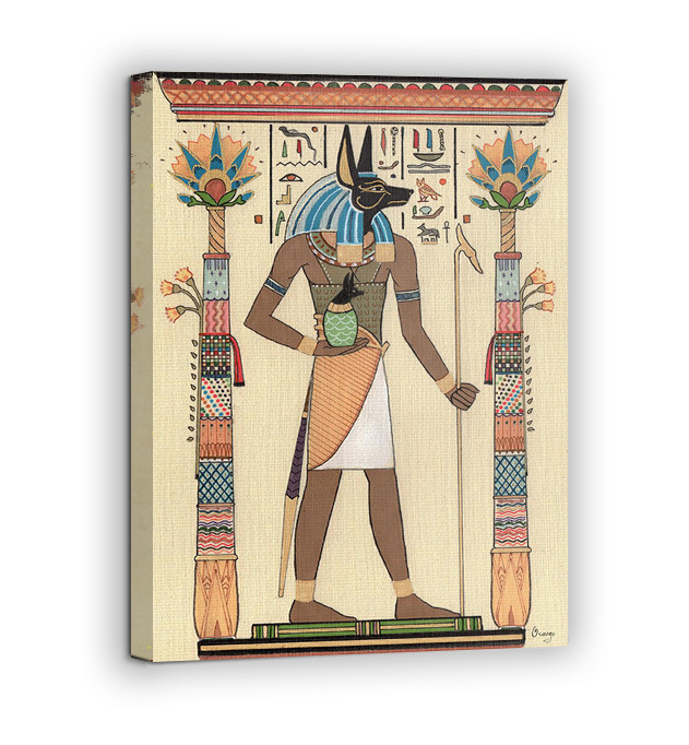 Картина на холсте BEGEMOT Древнеегипетский бог Анубис Галерейная натяжка 60х89 см (1110120)