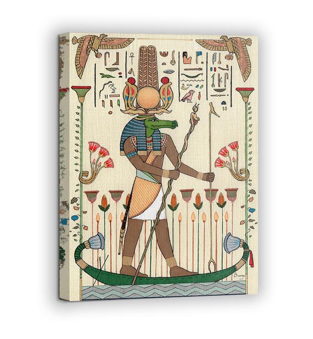 Картина на холсте BEGEMOT Древнеегипетский бог Себек Галерейная натяжка 60х89 см (1110125)
