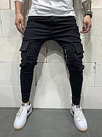 Джогеры (брюки) мужские черные с карманами и ремешками