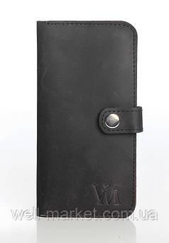 VM-Villomi Кожаное портмоне черного цвета с хлястиком