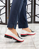Гладкая кожа и флотар! Стильные кожаные туфли женские лоферы, фото 6