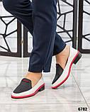 Гладкая кожа и флотар! Стильные кожаные туфли женские лоферы, фото 2