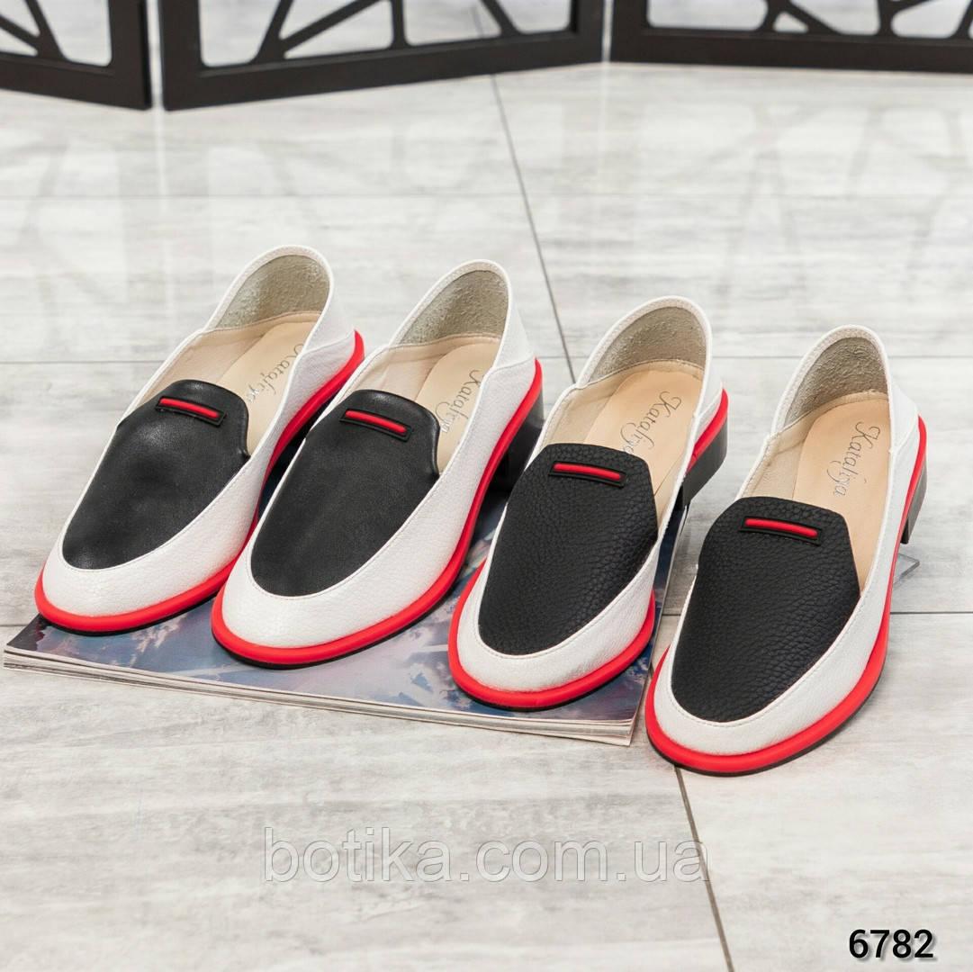 Гладкая кожа и флотар! Стильные кожаные туфли женские лоферы