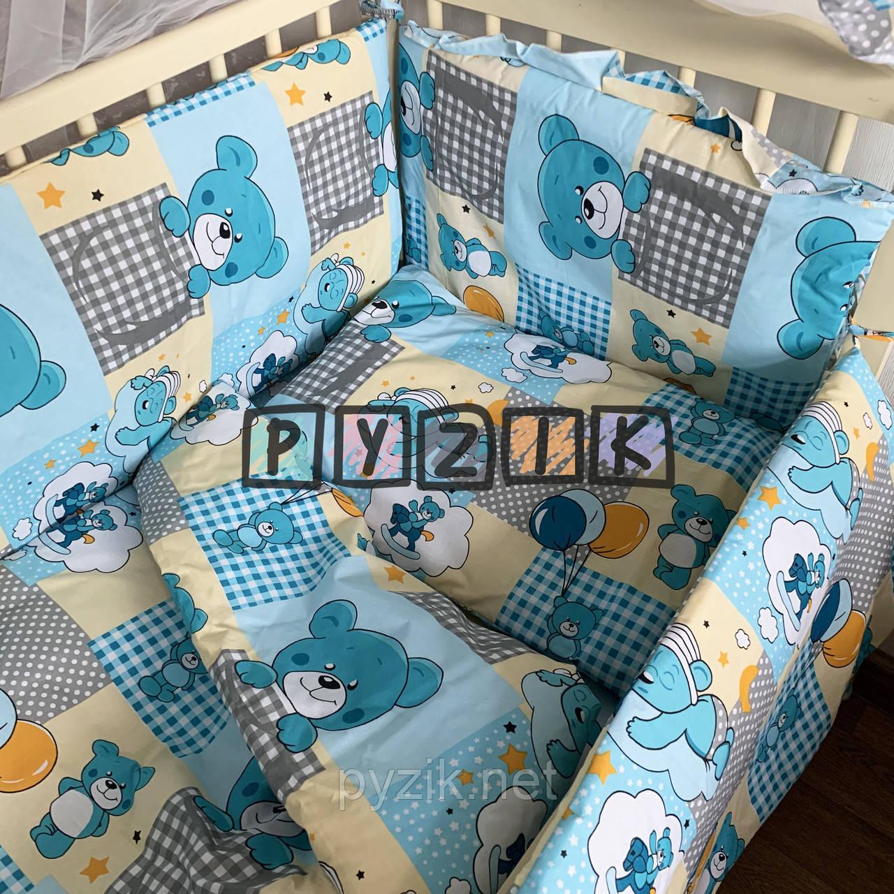"""Детское постельное бельё (8 предметов) """"Мишки с воздушными шариками"""" бирюзовое"""