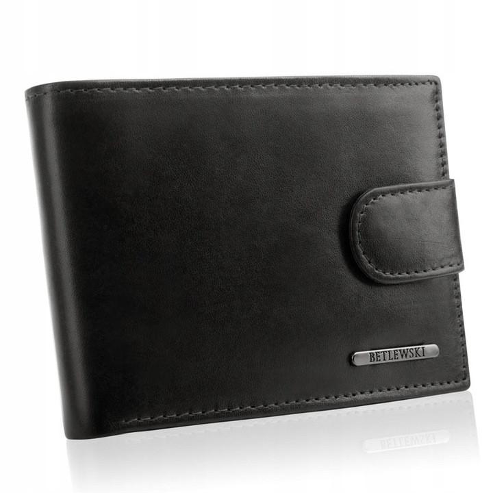 Чоловічий шкіряний гаманець Betlewski з RFID 12 х 9 х 3 (BPM-VTC-60) - чорний