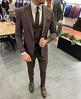Мужской солидный костюм тройка темно-коричневый