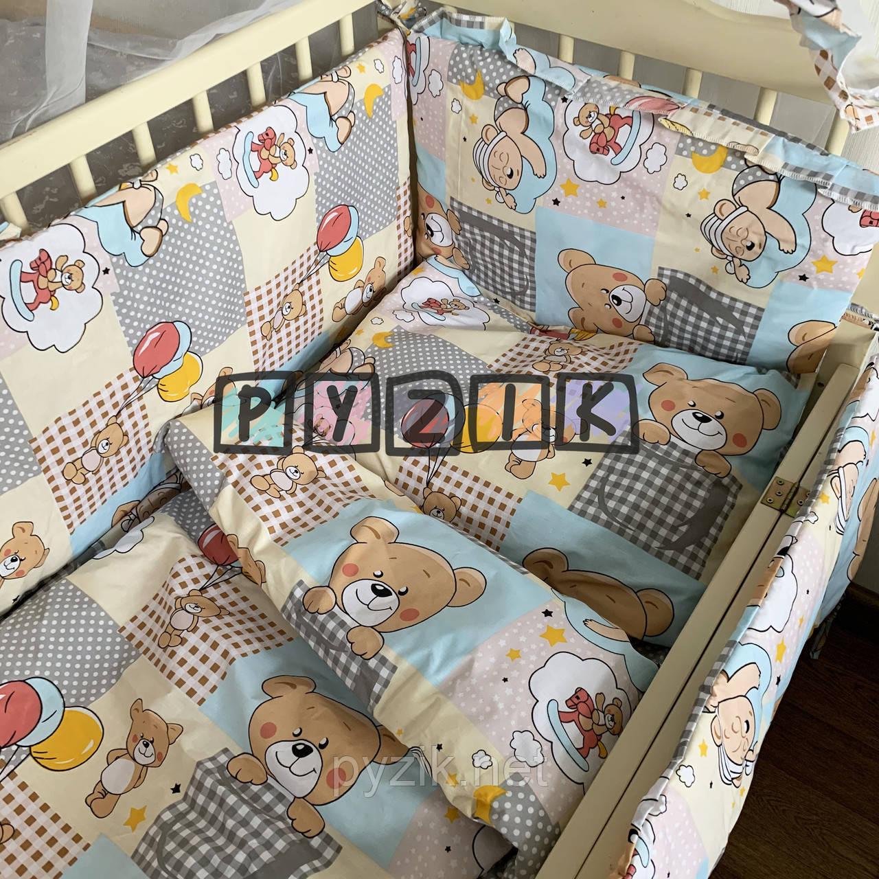 """Детское постельное бельё (8 предметов) """"Мишки с воздушными шариками"""" желтое"""