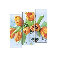 "Модульная картина на холсте ""Тюльпаны"" 790х810мм"