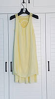 Платье однотонное желтое молодежное 48-50