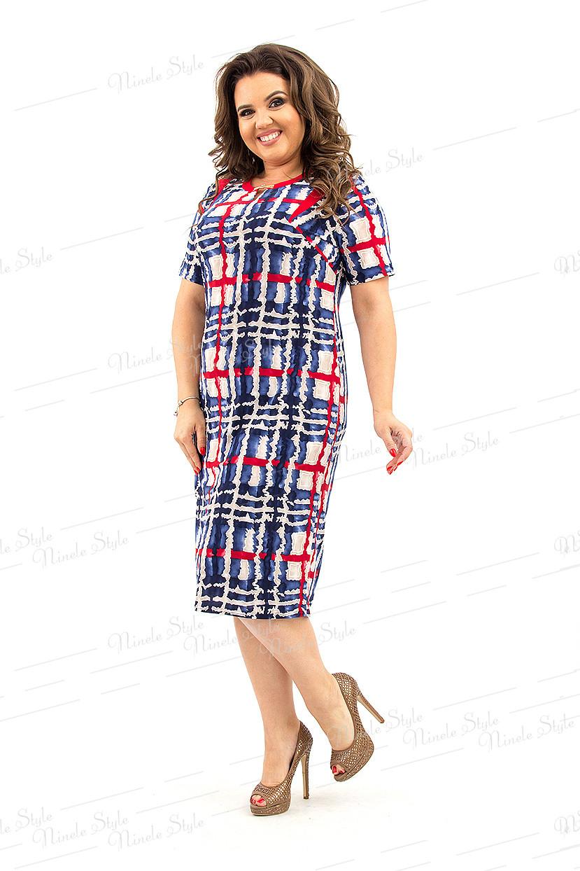 Красно-синие женское платье с необычным узором 143-а