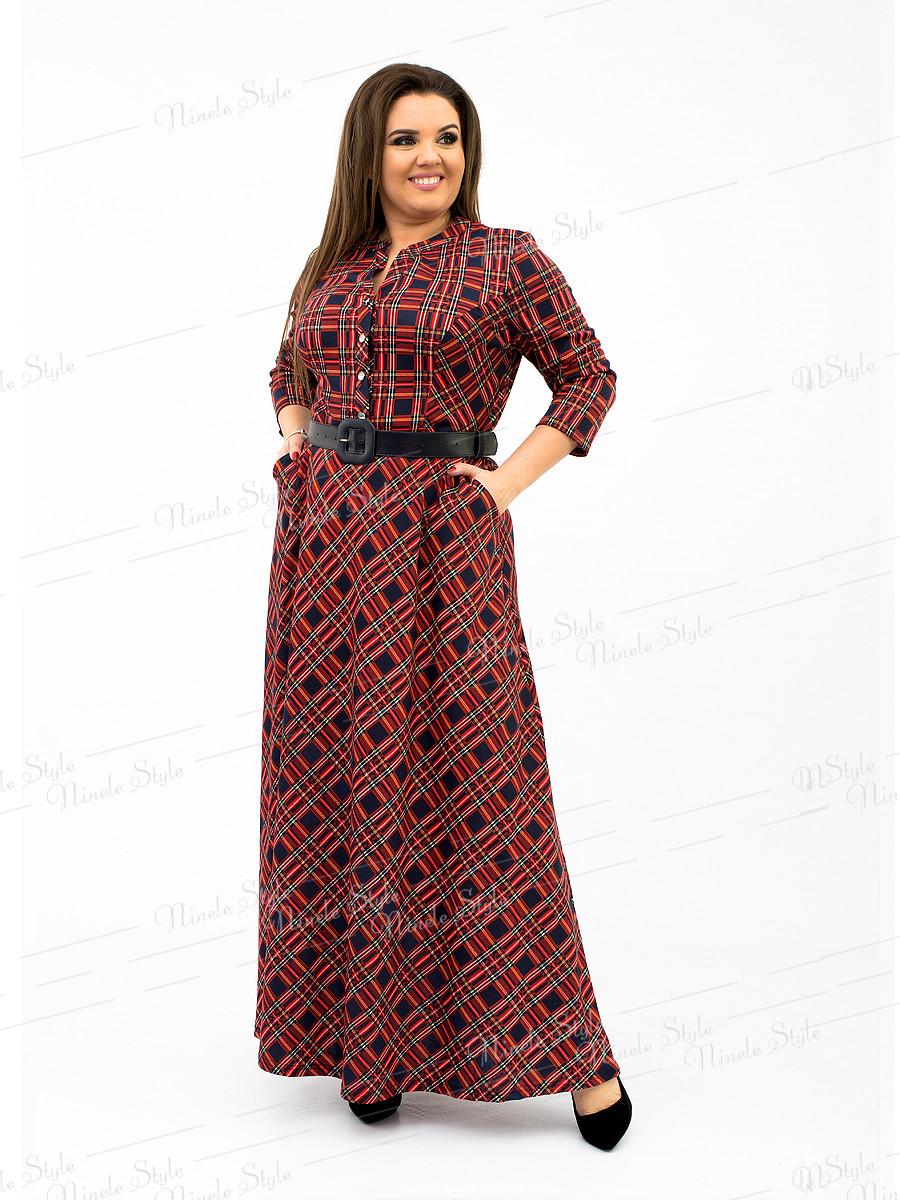 Длинное бордовое женское  платье в клетку 107 52