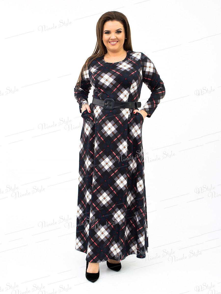 Трикотажное длинное женское платье в клетку - синее 161 54
