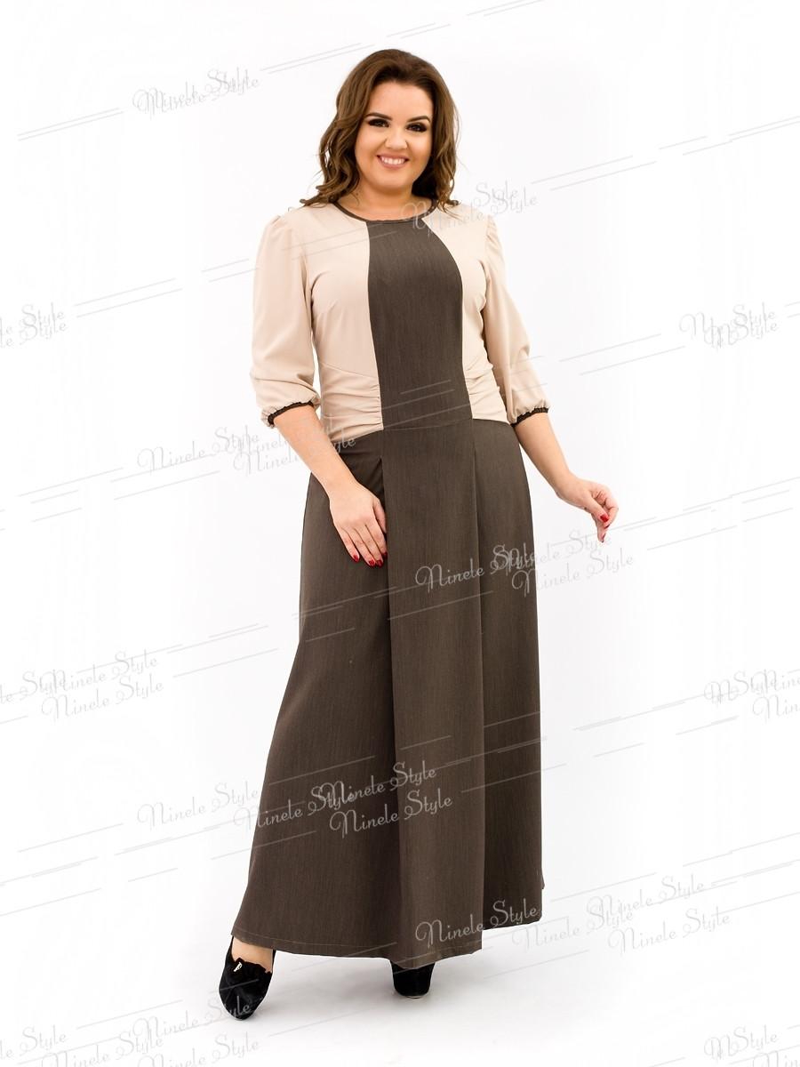 Элегантное коричневое женское платье делового стиля 343 54