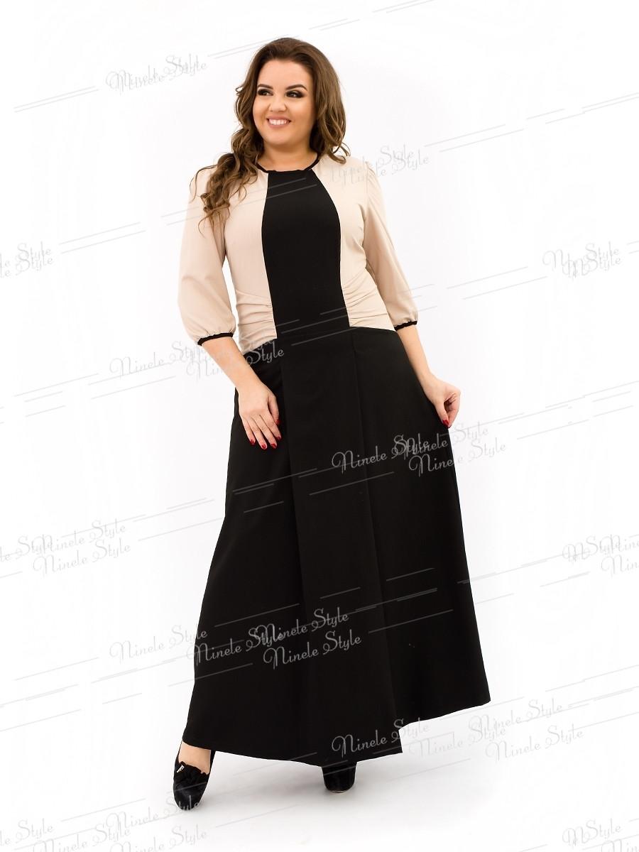 Элегантное черное-бежевое женское платье делового стиля 343-1 54