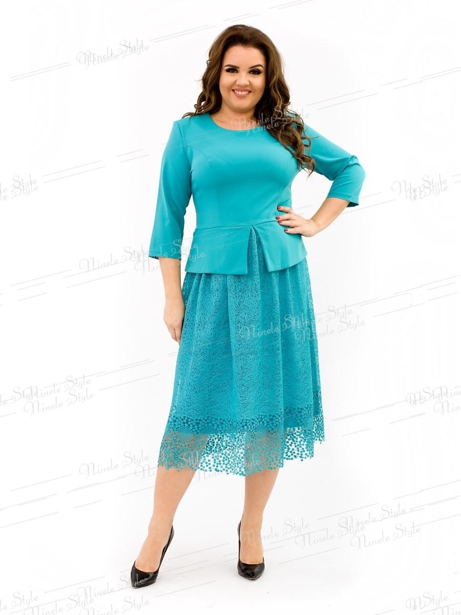 Бирюзовое коктейльное женское платье с кружевной юбкой 344 54