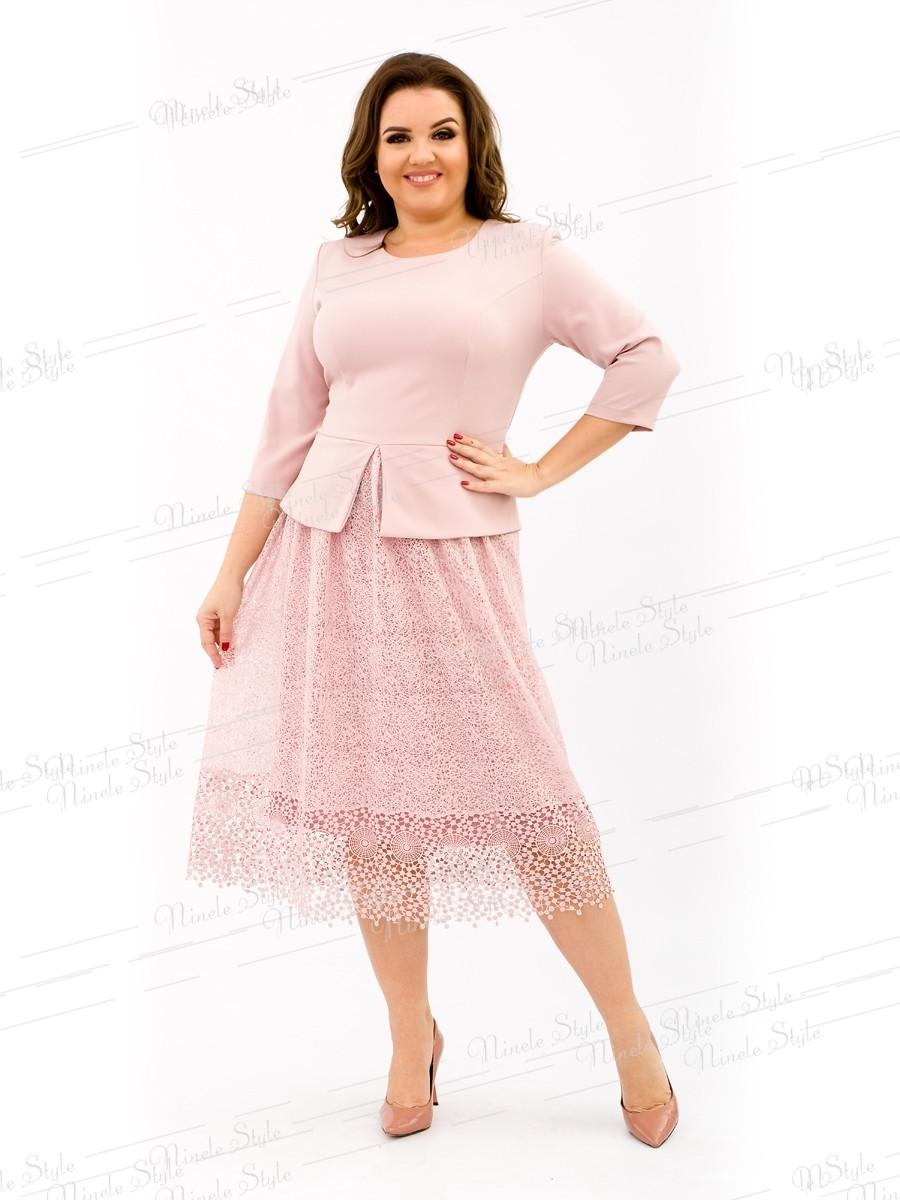 Розовое коктейльное женское платье с кружевной юбкой 344-2 54