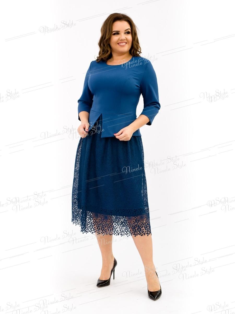Синее коктейльное женское платье с кружевной юбкой 344-3 54
