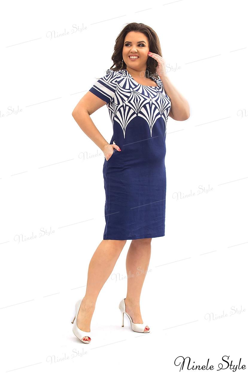 Синее женское платье с орнаментом 198 54