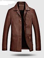 Шкіряна куртка класична з ПУ шкіри довга.(0342)