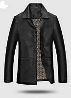 Шкіряна куртка класична з ПУ шкіри довга.