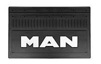 MAN. Брызговик резиновый для грузовых автомобилей (350Х645) с текстурированной надписью MAN белого цвета.