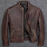Мужская куртка из натуральной кожи коричневая. (1208)
