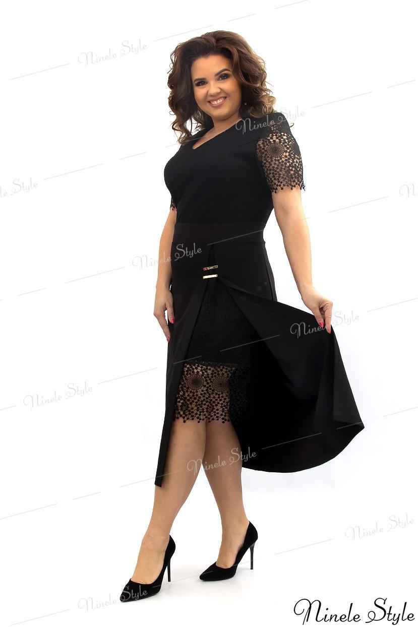 Черное кружевное вечернее женское платье из гипюра  347 54
