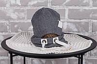 """Набір шапочка з снудом """"Hills"""", сірий, размеры42-46, 46-50, 50-54"""