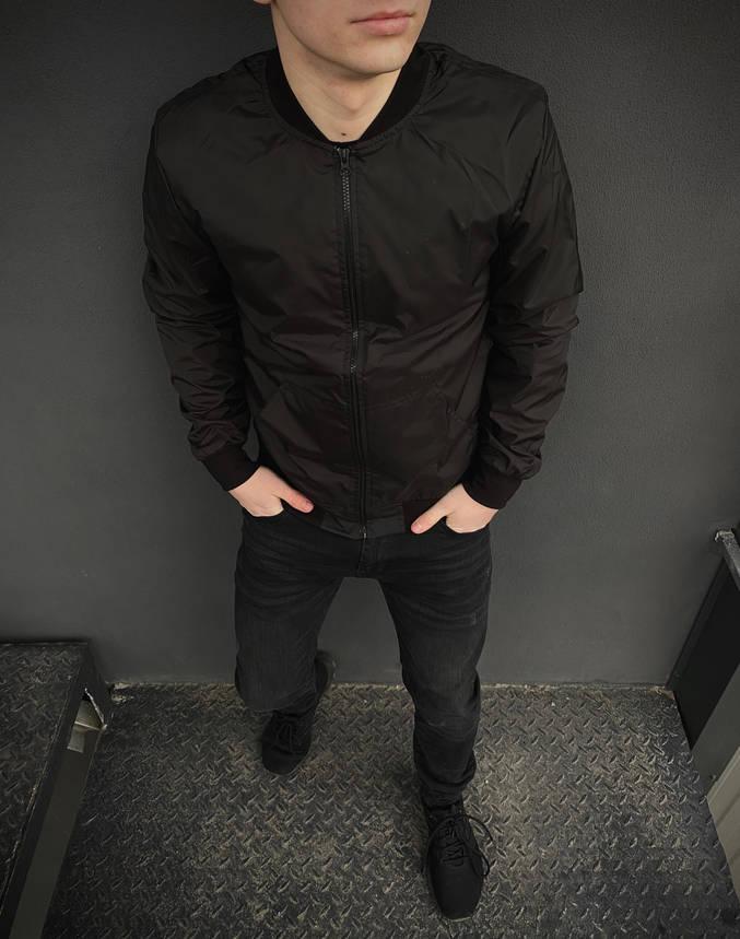 Бомбер мужской черный весенний осенняя куртка, фото 2