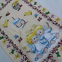 Готовое хлопковое полотенце с ангелочками, бабочками и пасками 45х60 см, фото 1