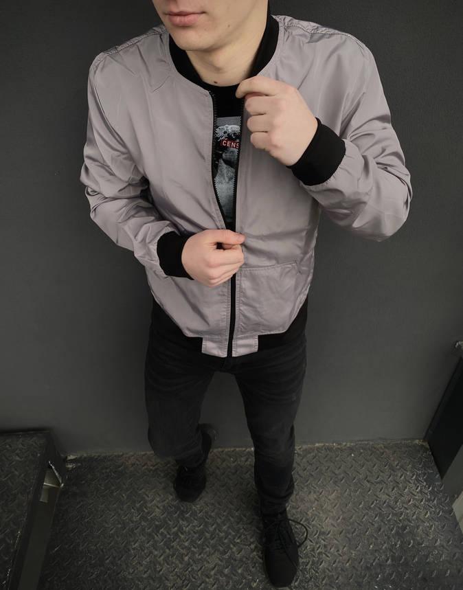 Бомбер мужской весенний серый куртка осенняя РАСПРОДАЖА Размеры S M, фото 2