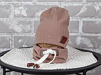 """Набор шапочка со снудом """"Hills"""", капучино, размеры42-46, 46-50, 50-54"""